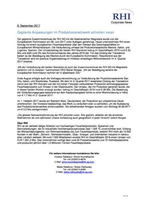 RHI: Geplante Anpassungen im Produktionsnetzwerk schreiten voran, Seite 1/1, komplettes Dokument unter http://boerse-social.com/static/uploads/file_2330_rhi_geplante_anpassungen_im_produktionsnetzwerk_schreiten_voran.pdf