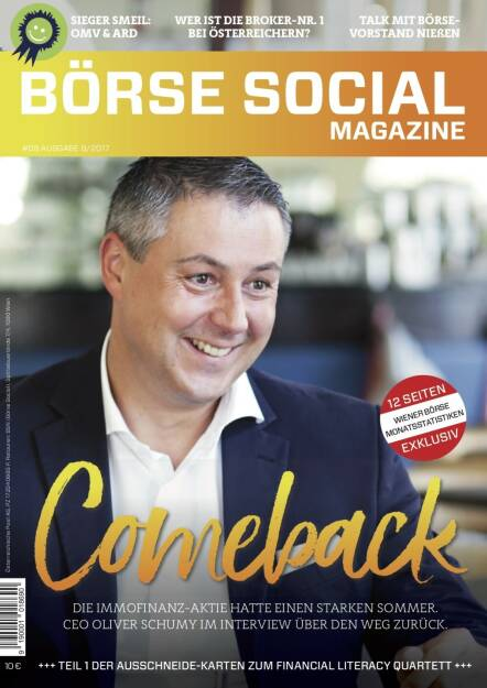Börse Social Magazine #8 mit Oliver Schumy, Immofinanz, am Cover (11.09.2017)