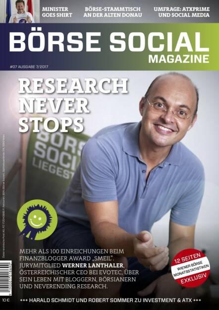 Börse Social Magazine #7 mit Werner Lanthaler, Evotec, am Cover (11.09.2017)