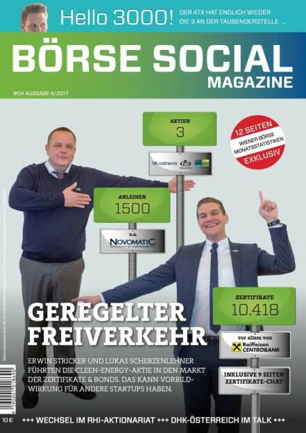 Börse Social Magazine #4 mit Erwin Stricker und Lukas Scherzenlehner, Cleen Energy, am Cover (11.09.2017)