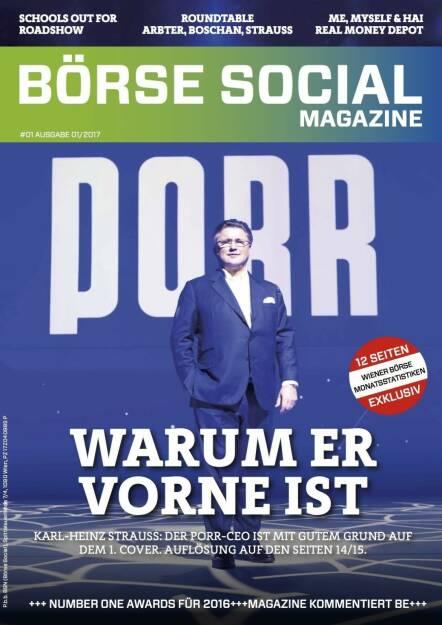 Börse Social Magazine #1 mit Karl-Heinz Strauss, Porr, am Cover (11.09.2017)