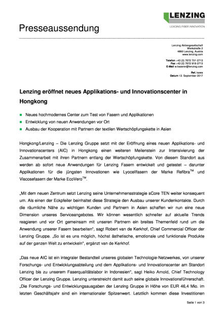 Lenzing eröffnet neues Applikations- und Innovationscenter in Hongkong, Seite 1/3, komplettes Dokument unter http://boerse-social.com/static/uploads/file_2333_lenzing_eroffnet_neues_applikations-_und_innovationscenter_in_hongkong.pdf (12.09.2017)