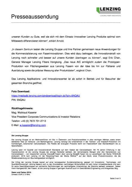 Lenzing eröffnet neues Applikations- und Innovationscenter in Hongkong, Seite 2/3, komplettes Dokument unter http://boerse-social.com/static/uploads/file_2333_lenzing_eroffnet_neues_applikations-_und_innovationscenter_in_hongkong.pdf (12.09.2017)