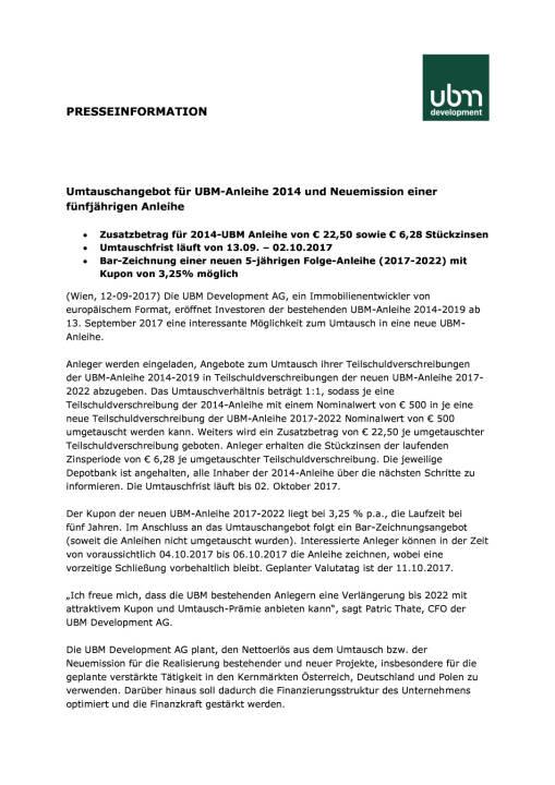 Umtauschangebot für UBM-Anleihe 2014 und Neuemission einer fünfjährigen Anleihe, Seite 1/3, komplettes Dokument unter http://boerse-social.com/static/uploads/file_2334_umtauschangebot_fur_ubm-anleihe_2014_und_neuemission_einer_funfjahrigen_anleihe.pdf