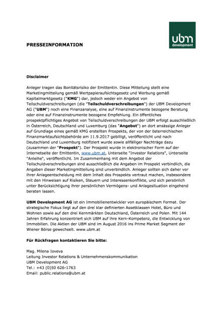 Umtauschangebot für UBM-Anleihe 2014 und Neuemission einer fünfjährigen Anleihe, Seite 3/3, komplettes Dokument unter http://boerse-social.com/static/uploads/file_2334_umtauschangebot_fur_ubm-anleihe_2014_und_neuemission_einer_funfjahrigen_anleihe.pdf (12.09.2017)