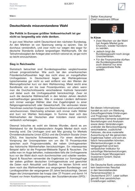 Für die Finanzmärkte dürften die Bundestagswahlen auch diesmal nur eine untergeordnete Rolle spielen, Seite 1/14, komplettes Dokument unter http://boerse-social.com/static/uploads/file_2336__fur_die_finanzmarkte_durften_die_bundestagswahlen_auch_diesmal_nur_eine_untergeordnete_rolle_spielen.pdf (12.09.2017)