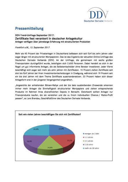DDV Umfrage: Zertifikate fest verankert in deutscher Anlagekultur, Seite 1/2, komplettes Dokument unter http://boerse-social.com/static/uploads/file_2337_ddv_umfrage_zertifikate_fest_verankert_in_deutscher_anlagekultur.pdf (13.09.2017)