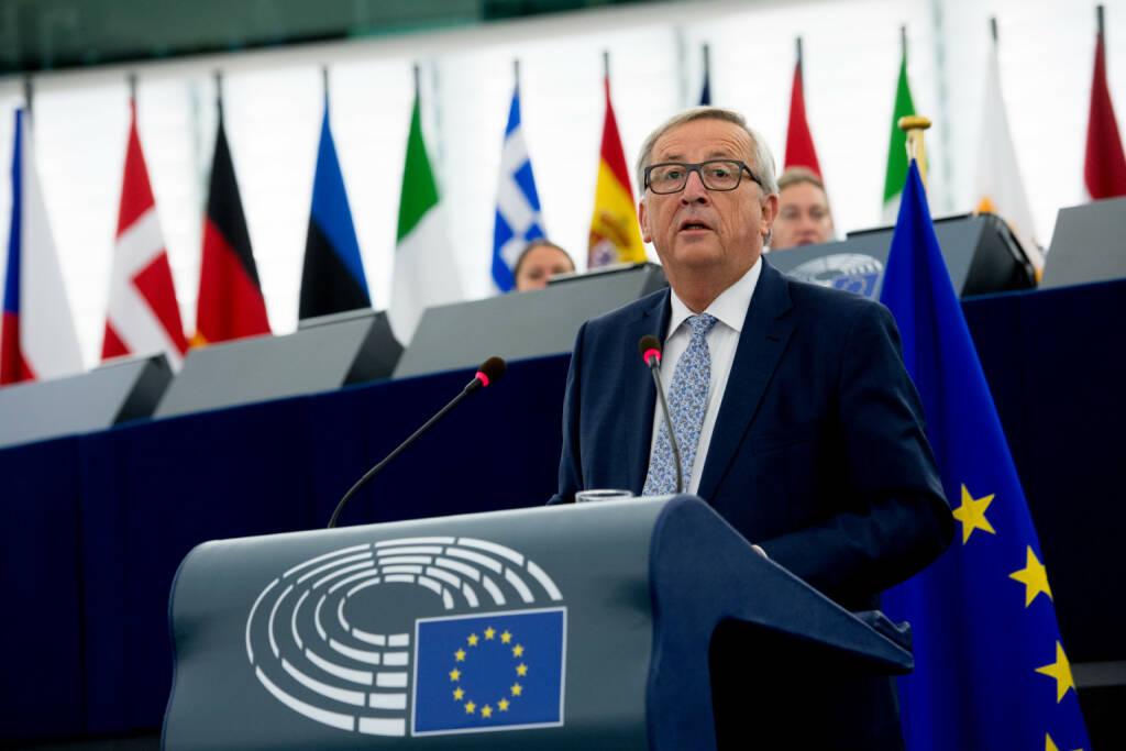 Vertretung der EU-Kommission in Österreich: Neue EU-Behörde für Arbeitnehmerrechte angekündigt, Kommissionspräsident Jean-Claude Juncker im Europäischen Parlament in Straßburg; Foto: EU/Etienne Ansotte, © Aussender (14.09.2017)