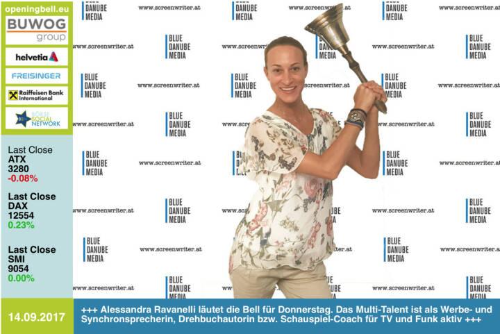 #openingbell am 14.9.: Alessandra Ravanelli läutet die Opening Bell für Donnerstag. Das Multi-Talent ist als Werbe- und Synchronsprecherin, Drehbuchautorin bzw. Schauspiel-Coach für TV und Funk aktiv http://www.screenwriter.at http://www.boersenradio.at #goboersewien https://www.facebook.com/groups/GeldanlageNetwork/