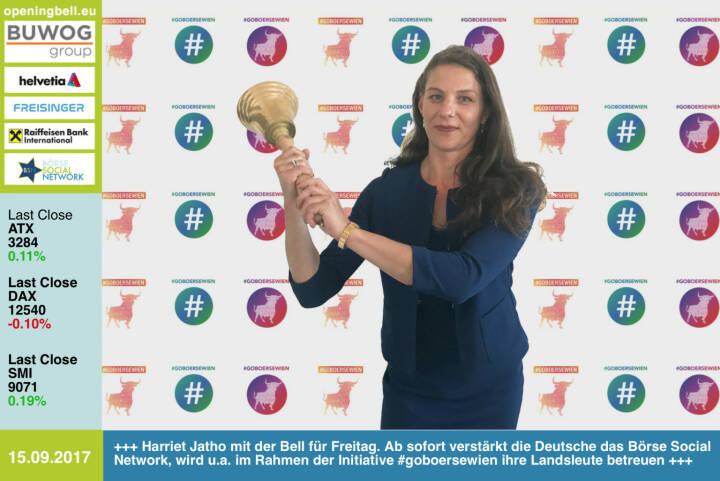 #openingbell am 15.9.: Harriet Jatho mit der Opening Bell für Freitag. Ab sofort verstärkt die Deutsche das Börse Social Network, wird u.a. im Rahmen der Initiative #goboersewien ihre Landsleute betreuen http://www.boerse-social.com/goboersewien