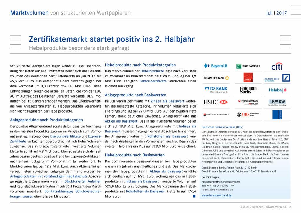 Zertifikatemarkt Deutschland: Positiver Start ins 2. Halbjahr, Seite 2/6, komplettes Dokument unter http://boerse-social.com/static/uploads/file_2340_zertifikatemarkt_deutschland_positiver_start_ins_2_halbjahr.pdf (19.09.2017)