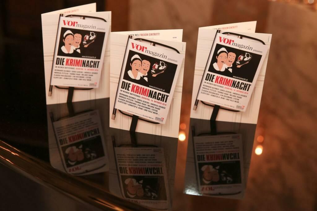 13. Kriminacht im Wiener Kaffeehaus am 17. Oktober 2017: An die 40 Krimiautoren lesen in ebenso vielen Locations; Fotocredit: © echo medienhaus/Katharina Schiffl (20.09.2017)