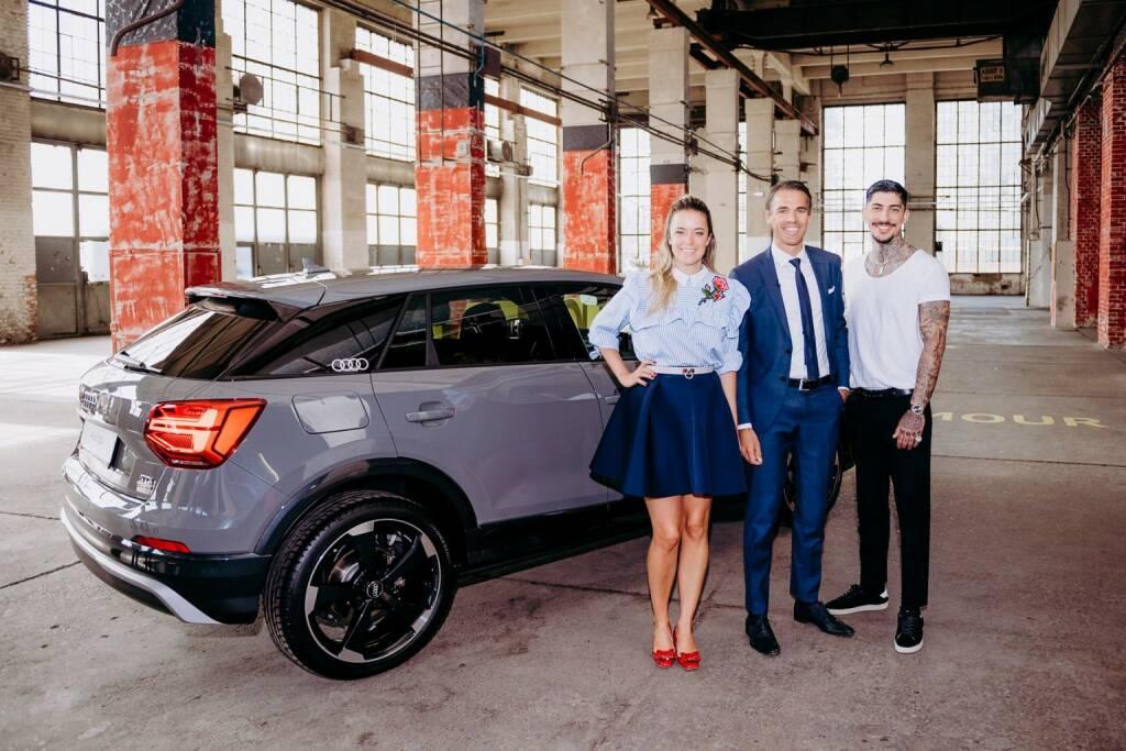 Audi ist exklusiver Auto-Partner von Austria's next Topmodel bei ATV, Marina Hoermanseder, Thomas Beran (Markenleiter Audi Österreich) und Daniel Bamdad; (c) ATV / Jörg Klickermann, © Aussendung (20.09.2017)