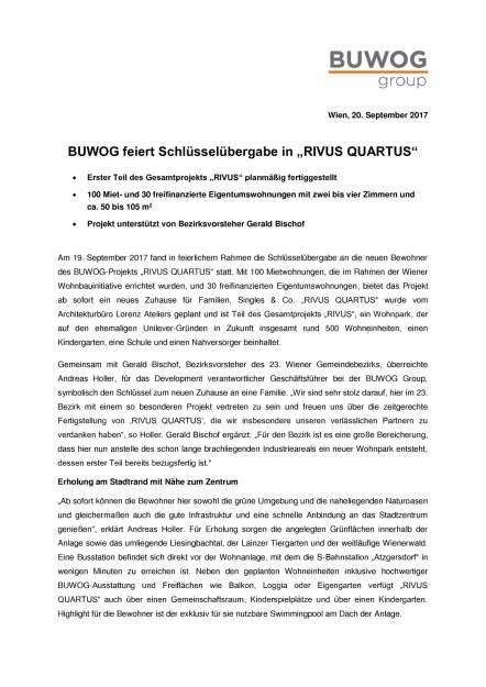 "Buwog feiert Schlüsselübergabe in ""Rivus Quartus"", Seite 1/2, komplettes Dokument unter http://boerse-social.com/static/uploads/file_2343_buwog_feiert_schlusselubergabe_in_rivus_quartus.pdf (20.09.2017)"