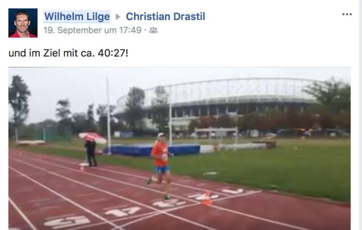 Ehre: Willy Lilge postet meinen Zieleinlauf, Zeit gibts aber 5 Tage später noch keine