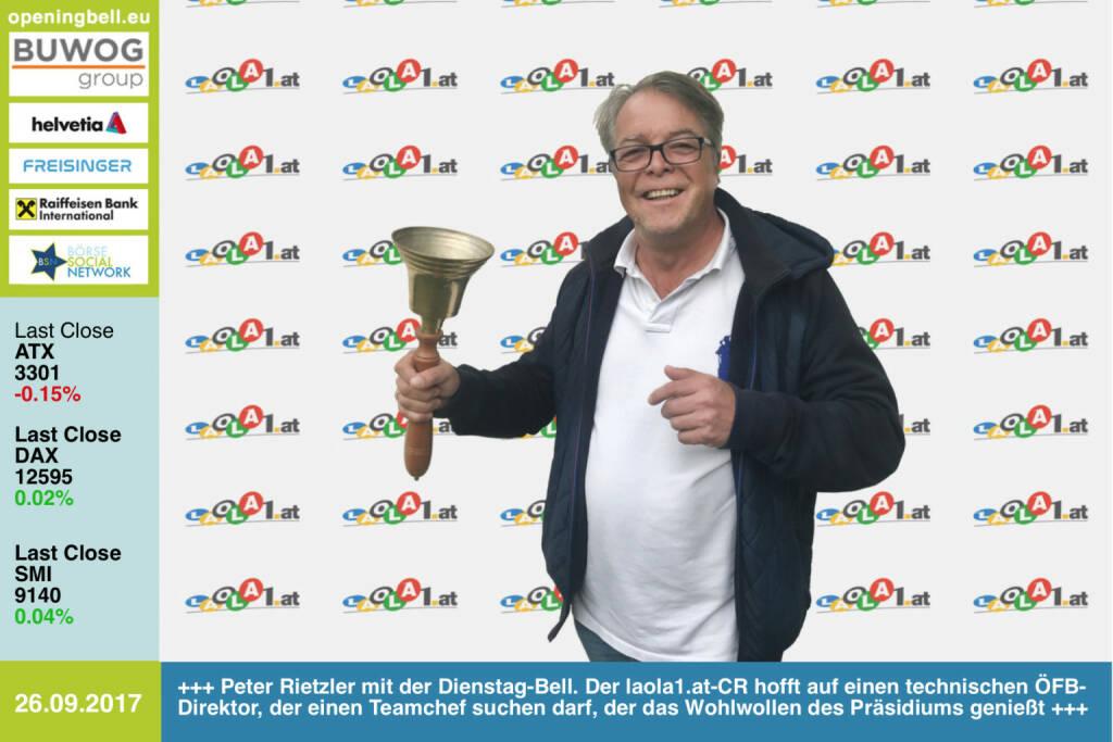 #openingbell am 26.9.: Peter Rietzler läutet die Opening Bell für Dienstag-Bell. Der laola1.at-Chefredakteur freut sich auf einen neuen technischen Direktor im ÖFB, der in der Folge einen ÖFB-Teamchef suchen darf, der dann auch das Wohlwollen des ÖFB-Präsidiums genießt ... http://www.laola1.at https://www.facebook.com/groups/Sportsblogged/   (26.09.2017)