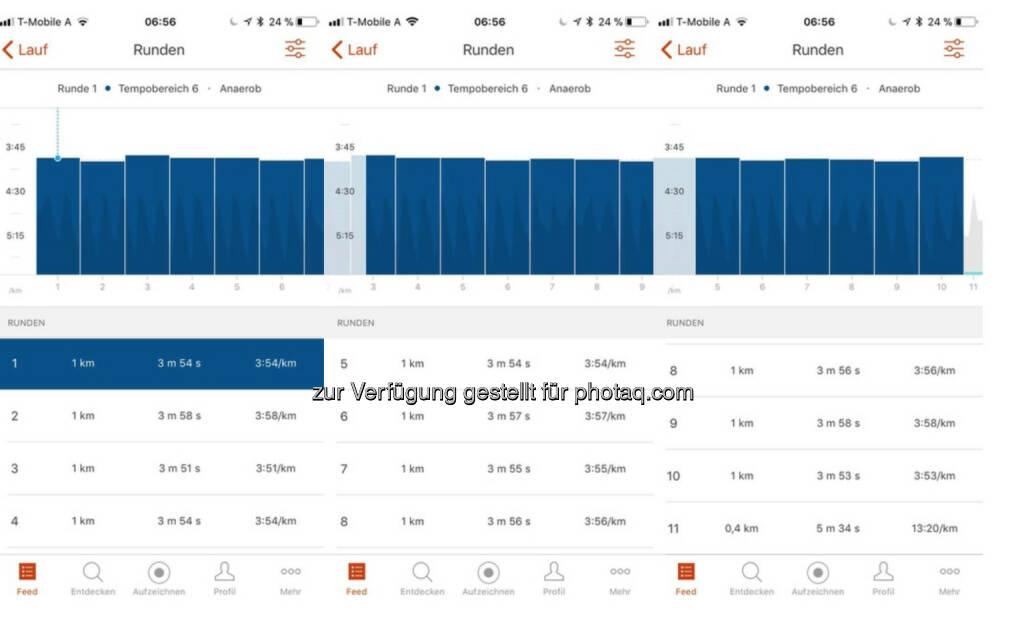Lt. Garmin jeder Kilometer unter 4:00 (26.09.2017)