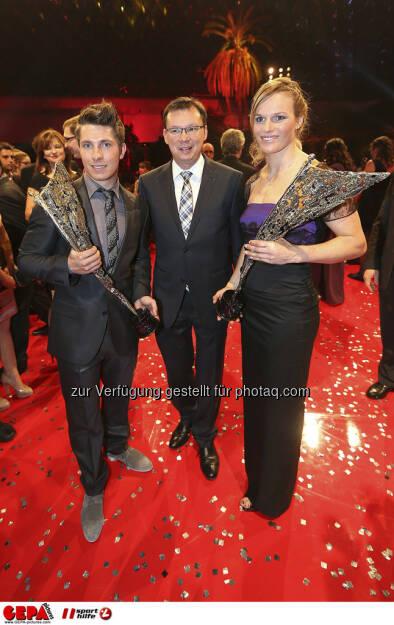 Marcel Hirscher, Norbert Darabos, Marlies Schild, © GEPA pictures/ Sporthilfe (15.12.2012)