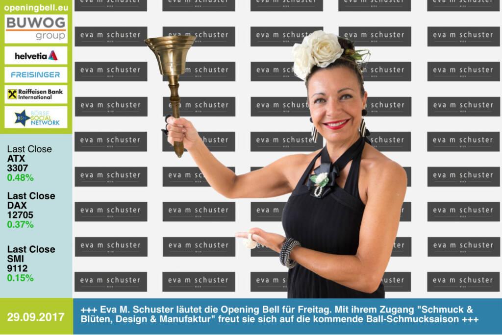 #openingbell am 29.9.: Eva M. Schuster läutet die Opening Bell für Freitag. Mit ihrem Zugang Schmuck & Blüten, Design & Manufaktur freut sie sich auf die kommende Ball-Schmucksaison http://www.evamschuster.wien https://www.facebook.com/groups/GeldanlageNetwork/ #goboersewien  (29.09.2017)