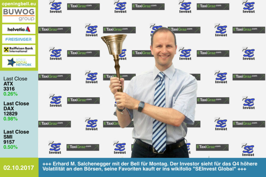 #openingbell am 2.10.: Erhard M. Salchenegger läutet die Opening Bell für Montag. Der Investor sieht für das Q4 höhere Volatilität an den Börsen, seine Favoriten kauft er ins wikifolio SEInvest Global https://www.facebook.com/groups/GeldanlageNetwork/ #goboersewien  (02.10.2017)