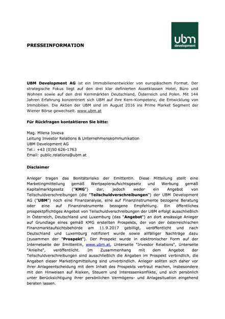 UBM schließt Anleihe-Umtausch über Erwartungen ab, Seite 2/2, komplettes Dokument unter http://boerse-social.com/static/uploads/file_2354_ubm_schliesst_anleihe-umtausch_uber_erwartungen_ab.pdf (03.10.2017)