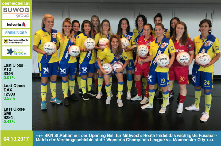 #openingbell am 4.10.: Die SKN St.Pölten Frauen läuten die Opening Bell für Mittwoch: Heute findet das wichtigste Fussball-Match der Vereinsgeschichte statt: Women´s Champions League vs. Manchester City Good Luck! http://www.skn-frauen.at  https://www.facebook.com/groups/Sportsblogged/