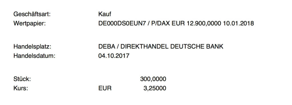Kauf xMarkets DAX Put Strike 12.900 Jan 2018 für #100100hello #goboersewien (04.10.2017)