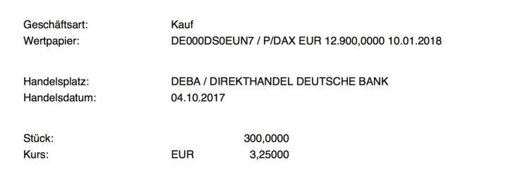 Kauf xMarkets DAX Put Strike 12.900 Jan 2018 für #100100hello #goboersewien