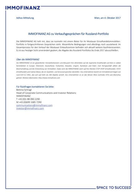 Immofinanz AG zu Verkaufsgesprächen für Russland-Portfolio, Seite 1/1, komplettes Dokument unter http://boerse-social.com/static/uploads/file_2356_immofinanz_ag_zu_verkaufsgesprachen_fur_russland-portfolio.pdf (05.10.2017)