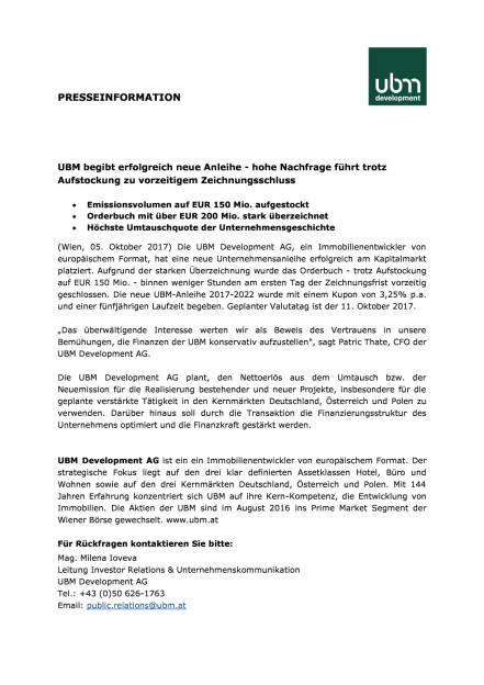 UBM begibt erfolgreich neue Anleihe, Seite 1/2, komplettes Dokument unter http://boerse-social.com/static/uploads/file_2357_ubm_begibt_erfolgreich_neue_anleihe.pdf (05.10.2017)