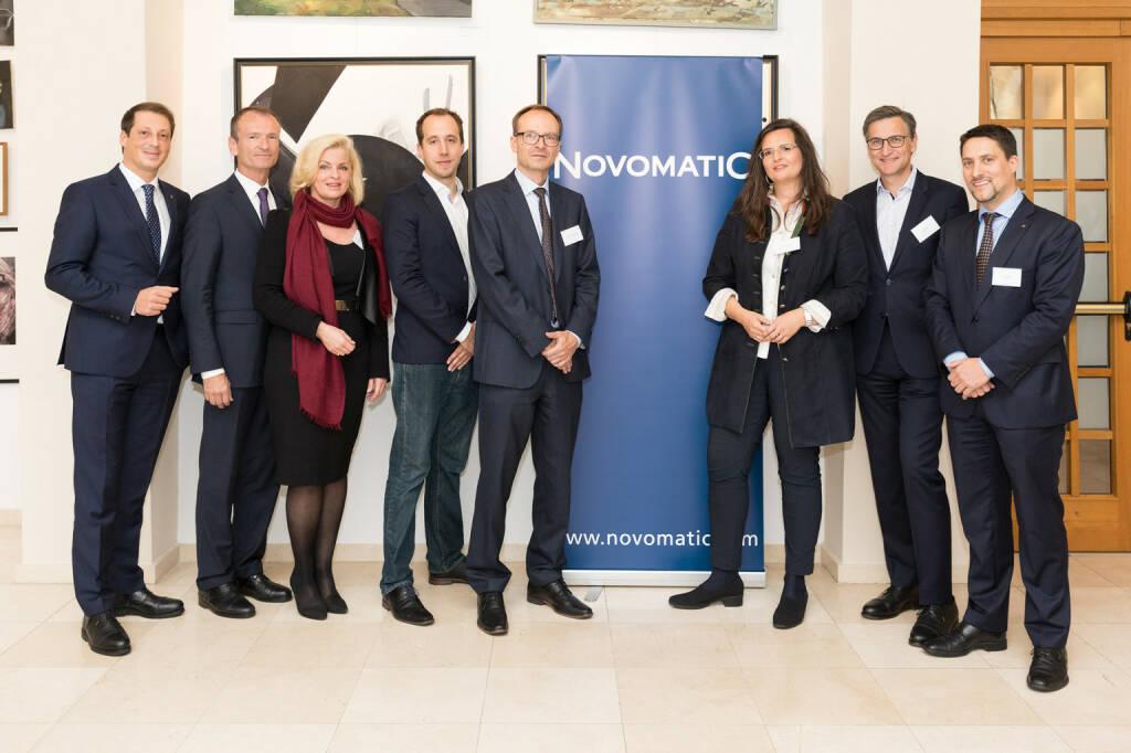 """Mehr als 70 Teilnehmer besuchten das 6. Novomatic Stakeholder Forum, das unter dem Titel """"Innovation und Corporate Responsibility – Wege zum strategischen Erfolg"""" stand. vlnr: Mag. Stefan Krenn (Generalsekretär, NOVOMATIC AG), DI Dr. Christian Plas (Geschäftsführender Gesellschafter, denkstatt GmbH), Mag. Barbara Feldmann (Mitglied des Aufsichtsrates, NOVOMATIC AG), Matthias Reisinger (Mitgründer und Co-Geschäftsführer, Impact Hub Vienna), Prof.(FH) Mag. Dr. Reinhard Altenburger (Projektleiter Innovation und CSR, IMC Fachhochschule Krems), Mag. Dr. Gabriela Maria Straka, EMBA (Leitung Kommunikation/PR & CSR, Brau Union Österreich AG), Mag. Georg Grassl (General Manager Wasch-/Reinigungsmittel Österreich, Henkel CEE), Mag. Philipp Gaggl, BA (Head of Corporate Responsibility & Sustainability, NOVOMATIC Gaming Industries GmbH); Fotocredit: Novomatic (06.10.2017)"""
