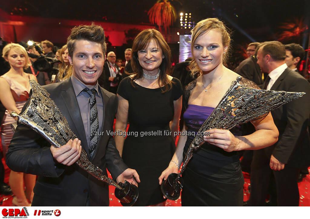 Marcel Hirscher, Susanne Riess-Passer, Marlies Schild, © GEPA pictures/ Sporthilfe (15.12.2012)