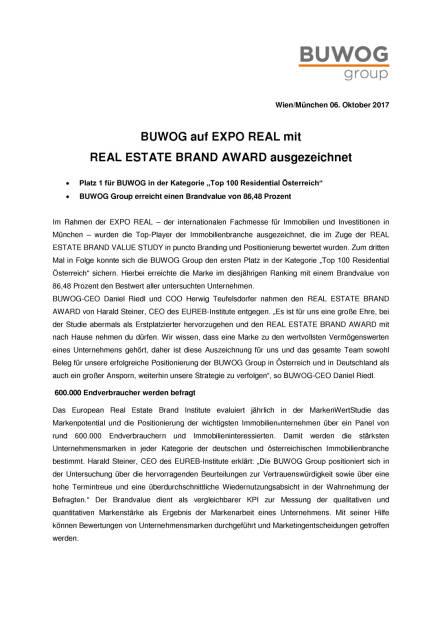 Buwog auf Expo Real mit Real Estate Brand Award ausgezeichnet, Seite 1/2, komplettes Dokument unter http://boerse-social.com/static/uploads/file_2358_buwog_auf_expo_real_mit_real_estate_brand_award_ausgezeichnet.pdf (06.10.2017)