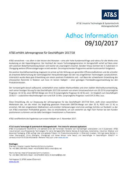 AT&S erhöht Jahresprognose für Geschäftsjahr 2017/18, Seite 1/1, komplettes Dokument unter http://boerse-social.com/static/uploads/file_2359_ats_erhoht_jahresprognose_fur_geschaftsjahr_201718.pdf (09.10.2017)