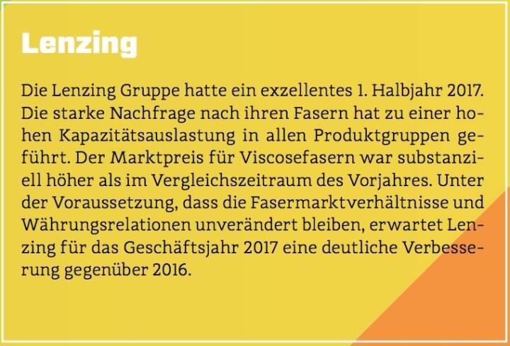 Lenzing - Die Lenzing Gruppe hatte ein exzellentes 1. Halbjahr 2017. Die starke Nachfrage nach ihren Fasern hat zu einer hohen Kapazitätsauslastung in allen Produktgruppen geführt. Der Marktpreis für Viscosefasern war substanziell höher als im Vergleichszeitraum des Vorjahres. Unter der Voraussetzung, dass die Fasermarktverhältnisse und Währungsrelationen unverändert bleiben, erwartet Lenzing für das Geschäftsjahr 2017 eine deutliche Verbesserung gegenüber 2016.