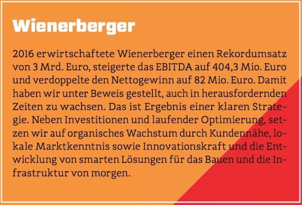 Wienerberger - 2016 erwirtschaftete Wienerberger einen Rekordumsatz von 3 Mrd. Euro, steigerte das EBITDA auf 404,3 Mio. Euro und verdoppelte den Nettogewinn auf 82 Mio. Euro. Damit haben wir unter Beweis gestellt, auch in herausfordernden Zeiten zu wachsen. Das ist Ergebnis einer klaren Strategie. Neben Investitionen und laufender Optimierung, setzen wir auf organisches Wachstum durch Kundennähe, lokale Marktkenntnis sowie Innovationskraft und die Entwicklung von smarten Lösungen für das Bauen und die Infrastruktur von morgen. (10.10.2017)