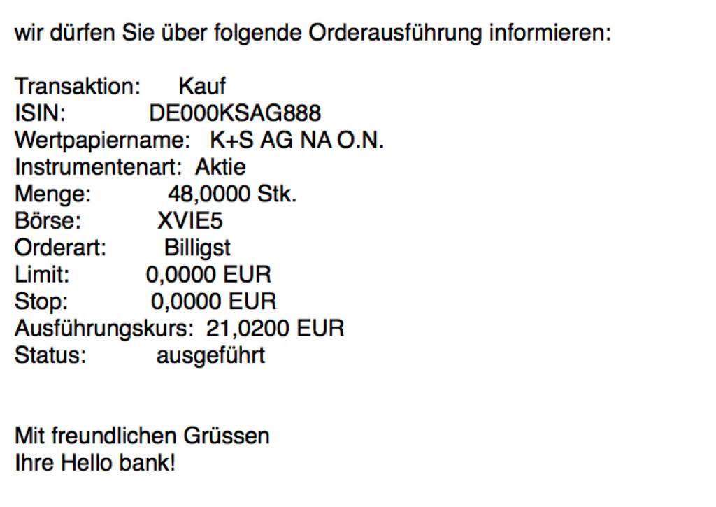 Kauf K+S für #100100hello #goboersewien #baaderbank #globalmarket (10.10.2017)