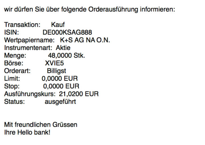Kauf K+S für #100100hello #goboersewien #baaderbank #globalmarket