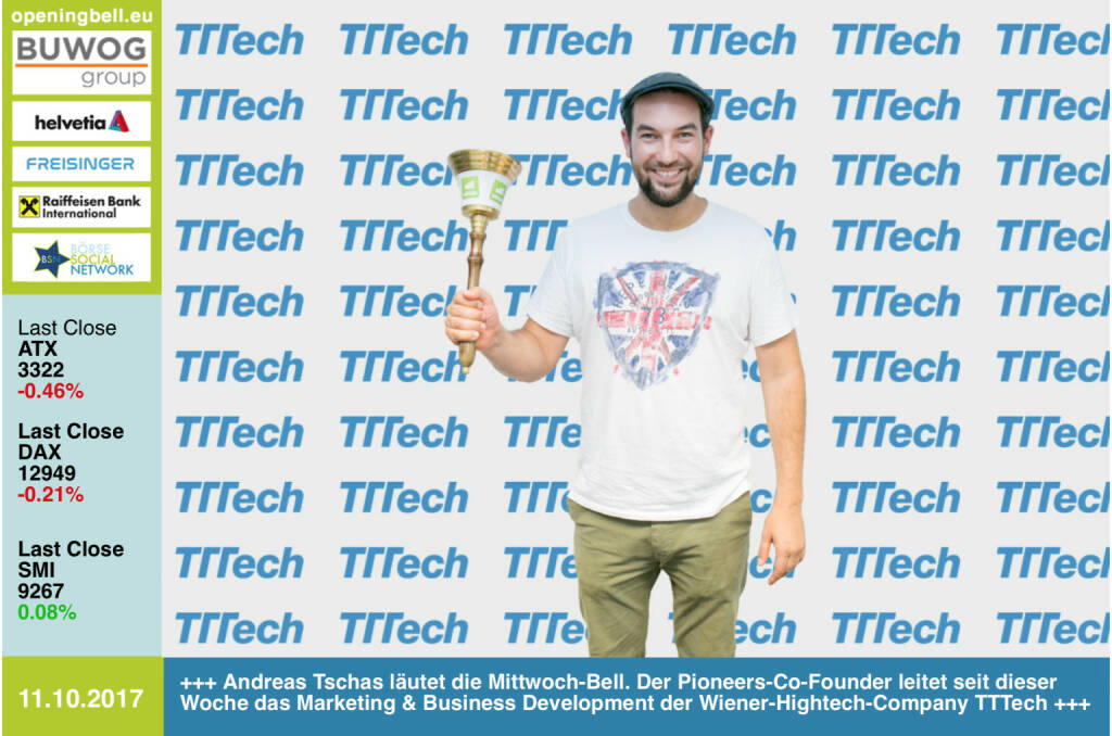 #openingbell am 11.10.: Andreas Tschas läutet die Opening Bell für Mittwoch. Der Pioneers-Co-Founder (und nunmehr Shareholder) leitet seit dieser Woche das Marketing & Business Development der Wiener-Hightech-Company TTTech http://www.tttech.com https://www.facebook.com/groups/GeldanlageNetwork/ #goboersewien (11.10.2017)