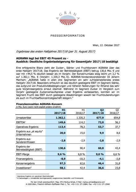 Agrana: Ergebnisse des ersten Halbjahres 2017|18 , Seite 1/3, komplettes Dokument unter http://boerse-social.com/static/uploads/file_2362_agrana_ergebnisse_des_ersten_halbjahres_201718.pdf (12.10.2017)