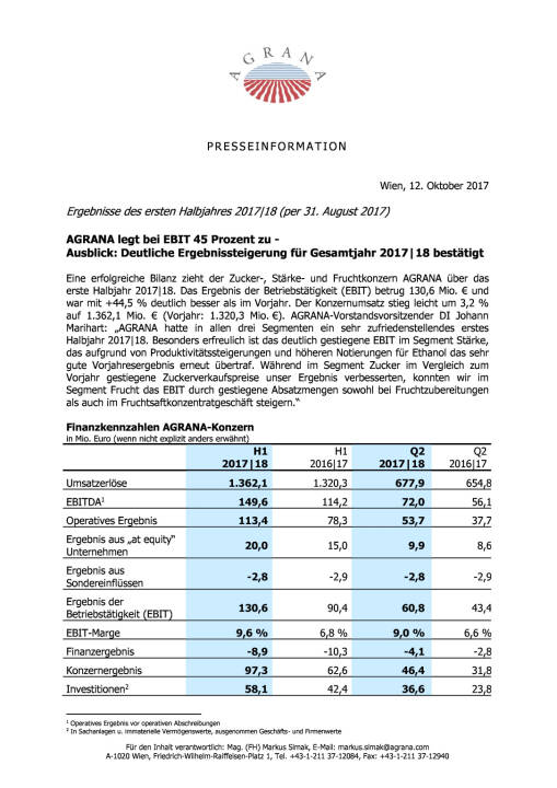 Agrana: Ergebnisse des ersten Halbjahres 2017|18 , Seite 1/3, komplettes Dokument unter http://boerse-social.com/static/uploads/file_2362_agrana_ergebnisse_des_ersten_halbjahres_201718.pdf