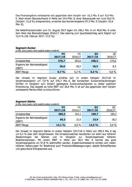 Agrana: Ergebnisse des ersten Halbjahres 2017|18 , Seite 2/3, komplettes Dokument unter http://boerse-social.com/static/uploads/file_2362_agrana_ergebnisse_des_ersten_halbjahres_201718.pdf (12.10.2017)