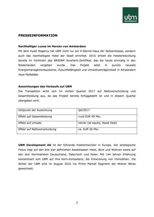 UBM verkauft neues Hyatt Regency Hotel in Amsterdam an Joint Venture Partner, Seite 2/3, komplettes Dokument unter http://boerse-social.com/static/uploads/file_2363_ubm_verkauft_neues_hyatt_regency_hotel_in_amsterdam_an_joint_venture_partner.pdf