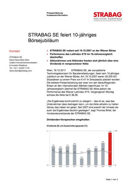 Strabag feiert 10-jähriges Börsejubiläum, Seite 1/3, komplettes Dokument unter http://boerse-social.com/static/uploads/file_2365_strabag_feiert_10-jahriges_borsejubilaum.pdf (16.10.2017)