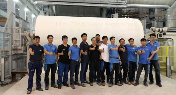 Andritz nimmt zweite Tissuemaschine mit 20-Fuss-Stahlzylinder bei Guizhou Chitianhua, China, erfolgreich in Betrieb. Das erste Papier am Roller der TM6 bei Guizhou Chitianhua © Andritz