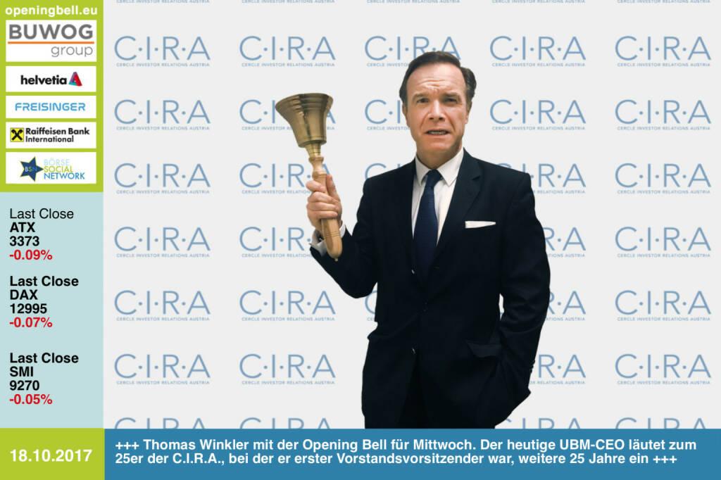 #openingbell am 18.10.: Thomas Winkler mit der Opening Bell für Mittwoch. Der heutige UBM-CEO läutet zum 25er der C.I.R.A., bei der er erster Vorstandsvorsitzender war, weitere tolle 25 Jahre ein http://www.cira.at http://www.ubm.at  http://www.boerse-social.com/goboersewien https://www.facebook.com/groups/GeldanlageNetwork/  (18.10.2017)