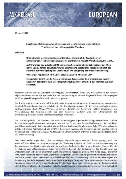 European Lithium: Studie zeigt Technische und wirtschaftliche Tragfähigkeit des Lithiumprojekts Wolfsberg, Seite 1/13, komplettes Dokument unter http://boerse-social.com/static/uploads/file_2367_european_lithium_studie_zeigt_technische_und_wirtschaftliche_tragfahigkeit_des_lithiumprojekts_wolfsberg.pdf (18.10.2017)
