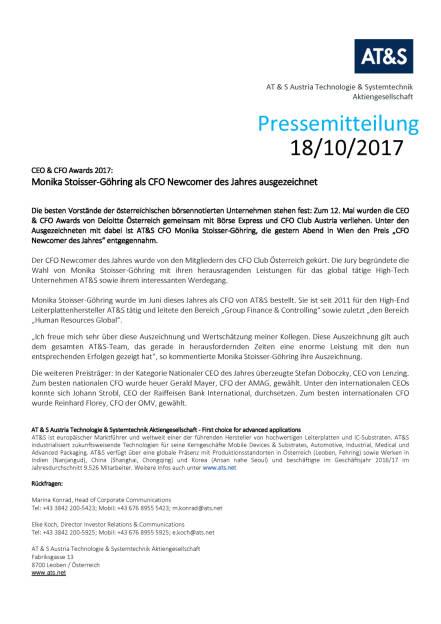 AT&S: Monika Stoisser-Göhring als CFO Newcomer des Jahres ausgezeichnet, Seite 1/1, komplettes Dokument unter http://boerse-social.com/static/uploads/file_2368_ats_monika_stoisser-gohring_als_cfo_newcomer_des_jahres_ausgezeichnet.pdf (18.10.2017)