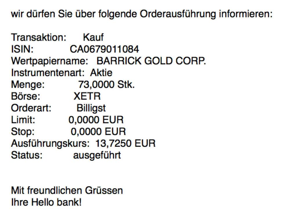 Kauf Barrick Gold für #100100hello #goboersewien (18.10.2017)