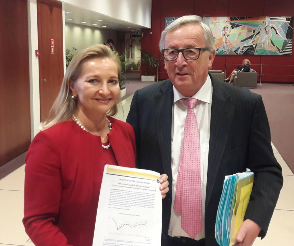 Ulrike Rabmer-Koller und Jean-Claude Juncker beim EU-Sozialpartnergipfel in Brüssel; Fotocredit:WKÖ, © Aussender (19.10.2017)